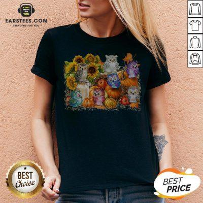 Top Owls Pumpkin Sunflower Halloween V-neck - Design By Earstees.com