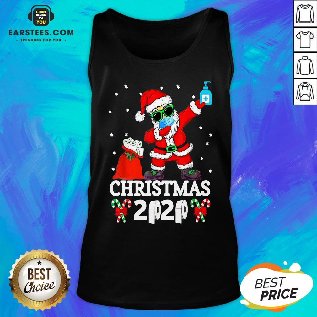 Top Satan Claus Dabbing Christmas 2020 Toilet Paper Tank Top - Design By Earstees.com