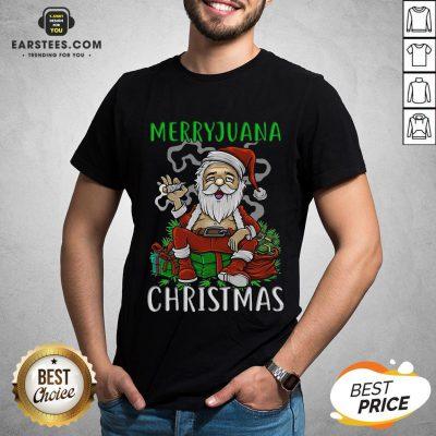 Top Satan Claus Marijuana Christmas Shirt - Design By Earstees.com
