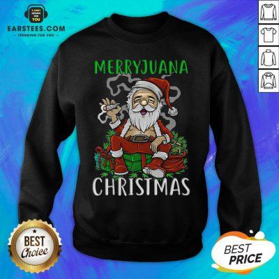 Top Satan Claus Marijuana Christmas Sweatshirt - Design By Earstees.com