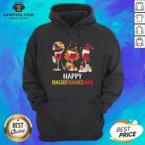 Wine Halloween Thanksgiving Christmas Happy Hallothanksmas Hoodie - Design By Earstees.com