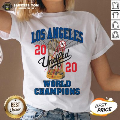 Official MLB Los Angeles Dodgers Undefeated 2020 World Championship Dodgers National League Champions 2020 Blue V-neck - Design By Earstees.com