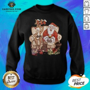 Awesome Christmas Santa Claus And Reindeer Gamer Controller Xmas Sweatshirt - Design By Earstees.com