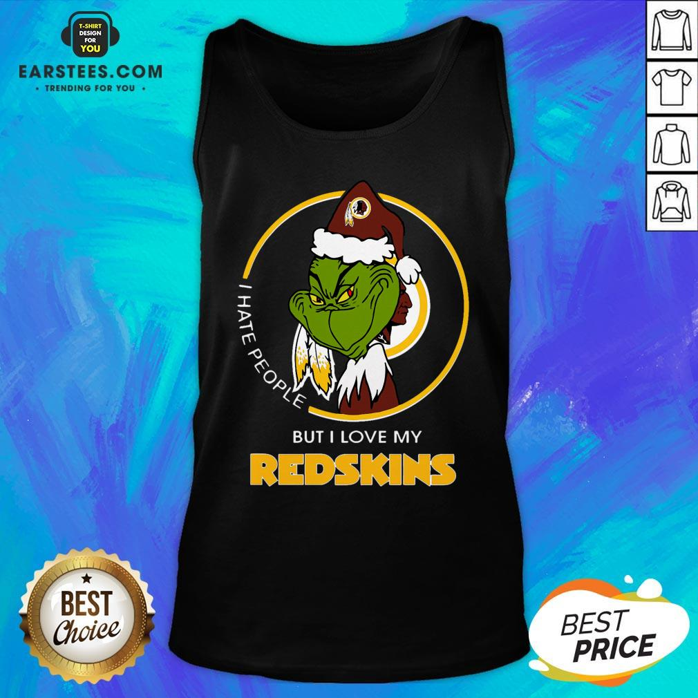 Awesome Grinch I Hate People But I Love My Redskins Tank Top - Design By Earstees.com