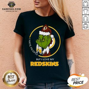 Awesome Grinch I Hate People But I Love My Redskins V-neck - Design By Earstees.com