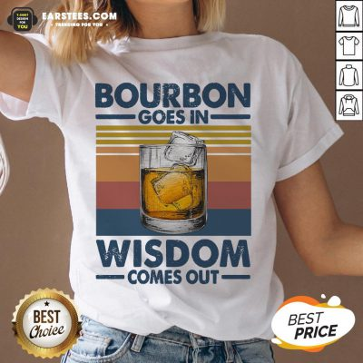 Funny Bourbon Goes In Wisdom Comes Out Vintage Retro V-neck - Design By Earstees.com
