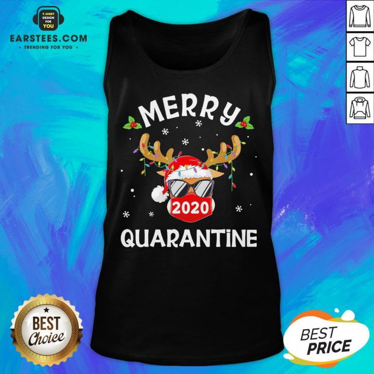 Funny Reindeer Face Mask Santa Merry Quarantine Christmas Sweater Tank Top - Design By Earstees.com