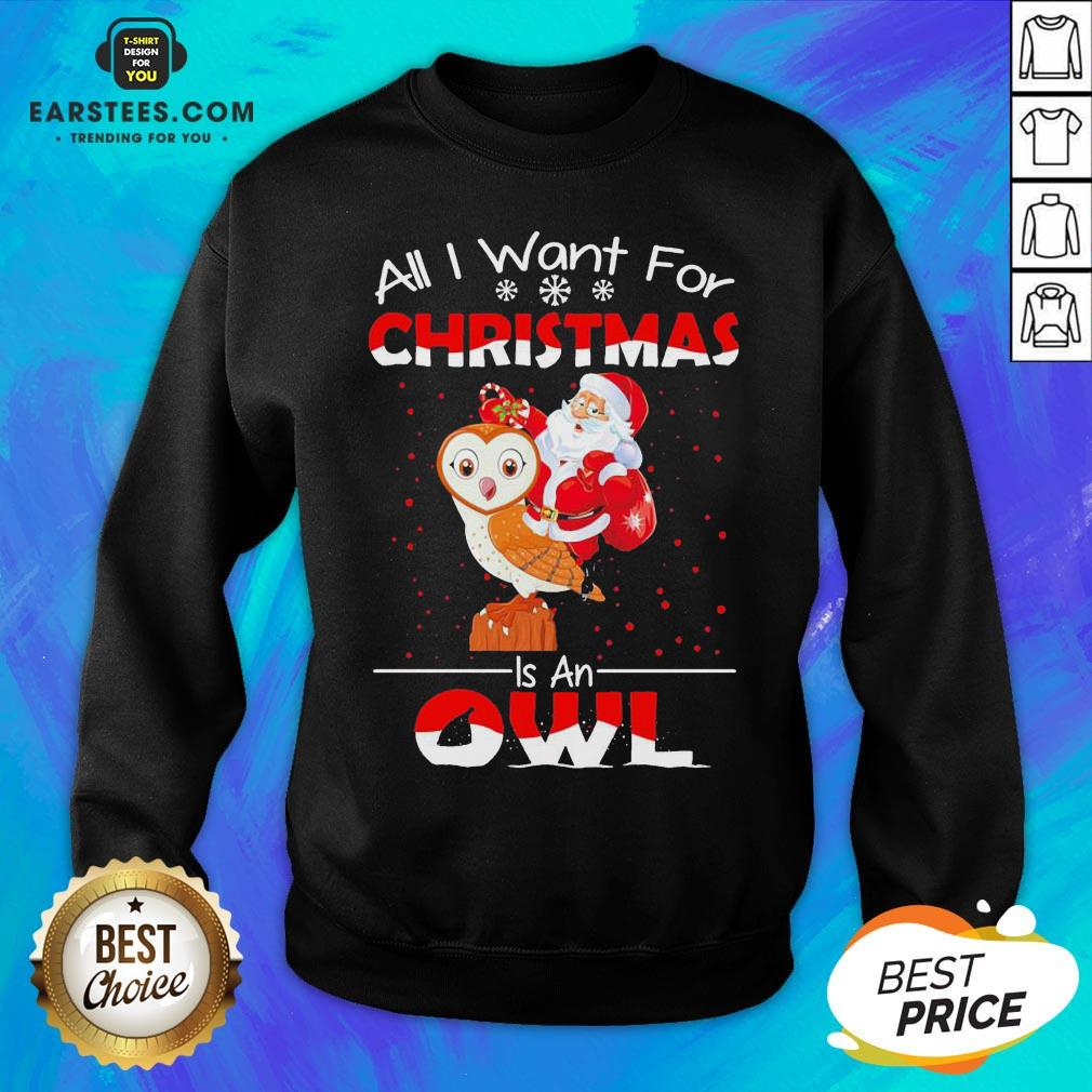 Funny Santa All I Want For Christmas Is An Owl Sweater Sweatshirt - Design By Earstees.com