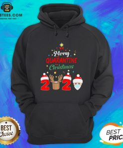 Funny Santa Claus And Reindeer Merry Quarantine Christmas Hoodie - Design By Earstees.com