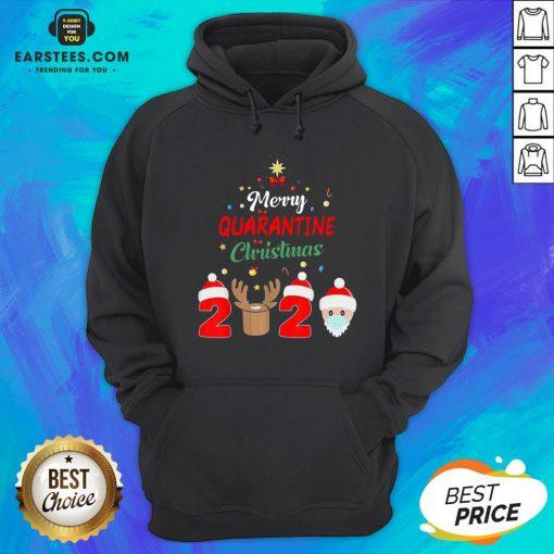Funny Santa Claus And Reindeer Merry Quarantine Christmas Hoodie - Design By Earstees.com