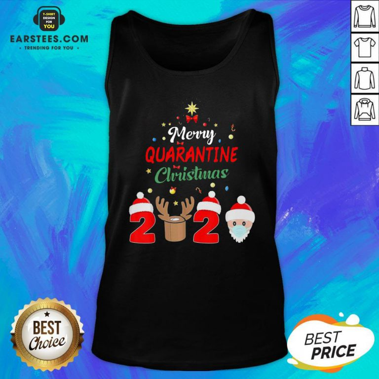 Funny Santa Claus And Reindeer Merry Quarantine Christmas Tank Top - Design By Earstees.com