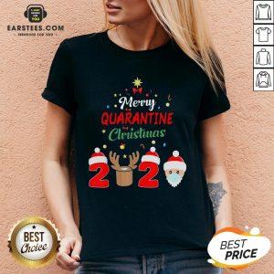 Funny Santa Claus And Reindeer Merry Quarantine Christmas V-neck- Design By Earstees.com