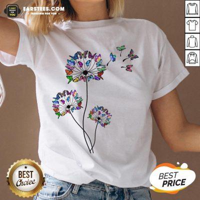 Good Butterfly Dandelion V-neck - Design By Earstees.com