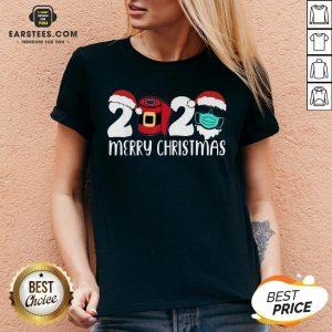 Good Santa Face Mask Merry Quarantine Christmas 2020 V-neck - Design By Earstees.com