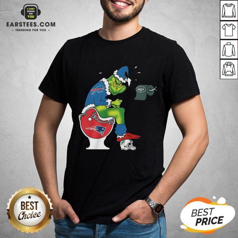 Good The Grinch Buffalo Bills Shit On Toilet New England Patriots Christmas Shirt - Design By Earstees.com