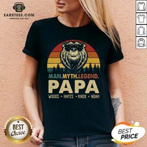 Hot Bear Man Myth Legend Papa Woods Hayes Knox Noad Vintage Retro V-neck - Design By Earstees.com
