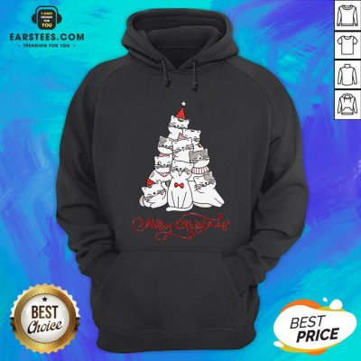 Hot Cats Merry Christmas Tree Hoodie - Design By Earstees.com