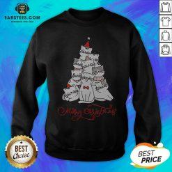 Hot Cats Merry Christmas Tree Sweatshirt - Design By Earstees.com