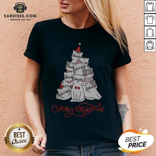Hot Cats Merry Christmas Tree V-neck - Design By Earstees.com