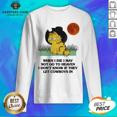 Hot Garfield When I Die I May Not Go To Heaven I Don't Know If They Let Cowboys In Sweatshirt - Design By Earstees.com