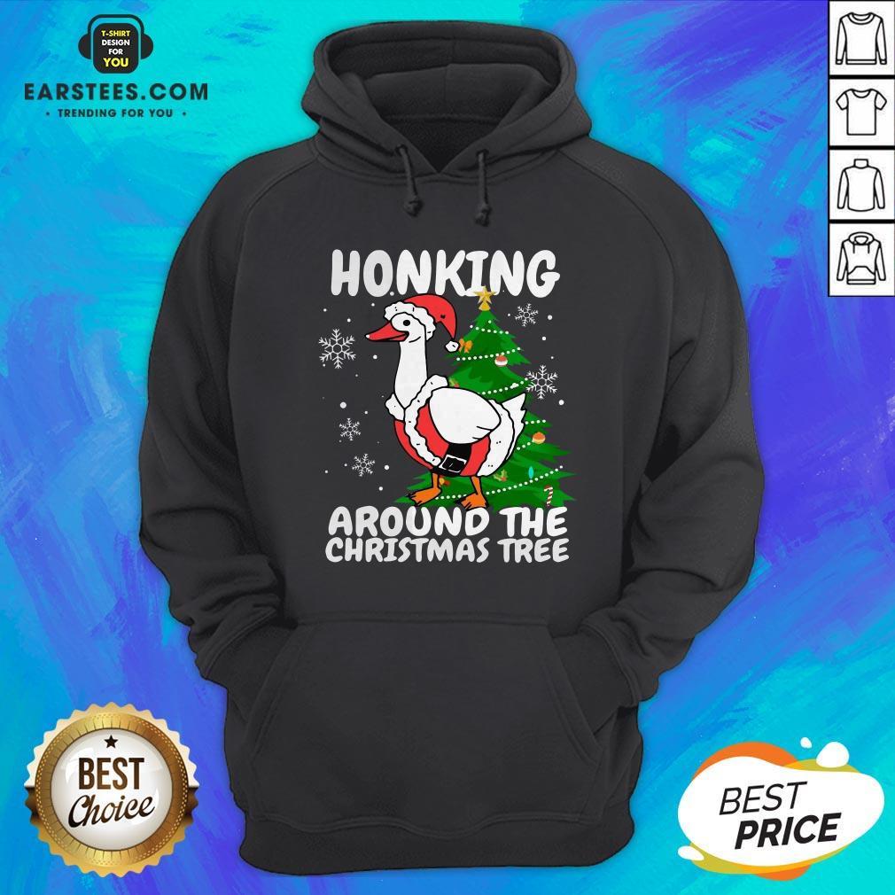 Hot Honking Around The Christmas Tree Duck Noel Trending Sweat Hoodie - Design By Earstees.com