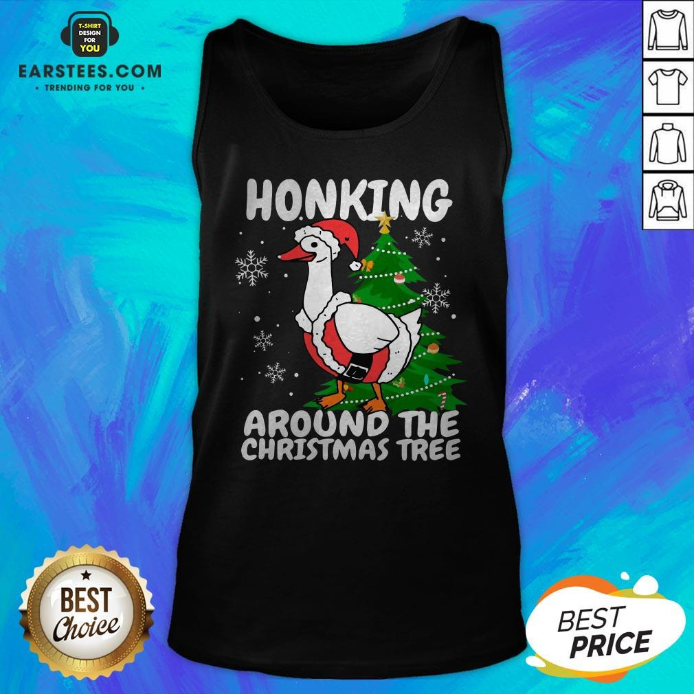 Hot Honking Around The Christmas Tree Duck Noel Trending Sweat Tank Top - Design By Earstees.com