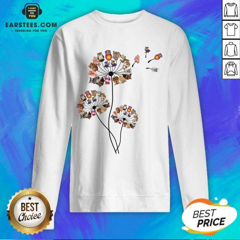 Hot Owl Dandelion Sweatshirt - Design By Earstees.com