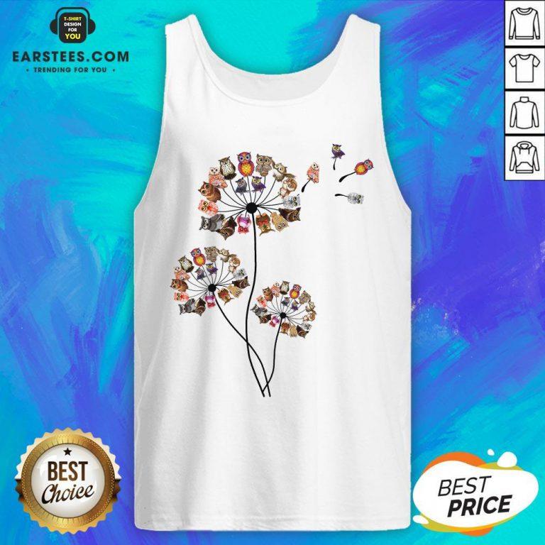 Hot Owl Dandelion Tank Top- Design By Earstees.com