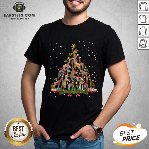 Nice Giraffe Christmas Tree Ornament Decor Shirt - Design By Earstees.com