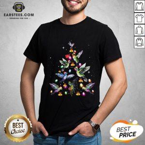 Nice Ruby-Throated Hummingbird Tree Light Christmas Shirt - Design By Earstees.com