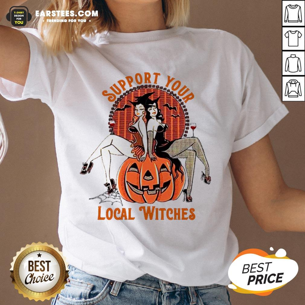 Nice Support Your Local Witches V-neck - Design By Earstees.com