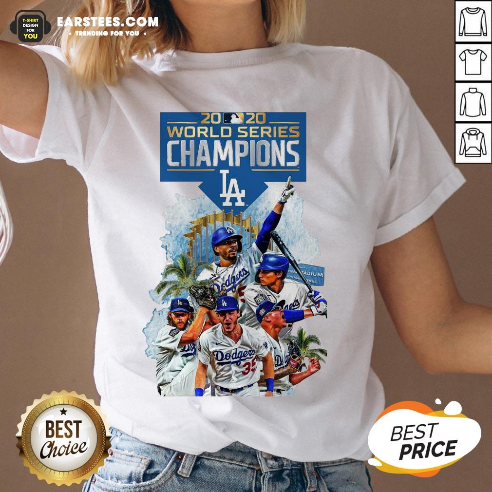 Official LA Dodgers Double Champions 2020 World Series Player Legend V-neck- Design By Earstees.com