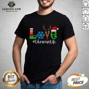 Official Love Snow Elf Reindeer Librarian Life Christmas Shirt - Design By Earstees.com