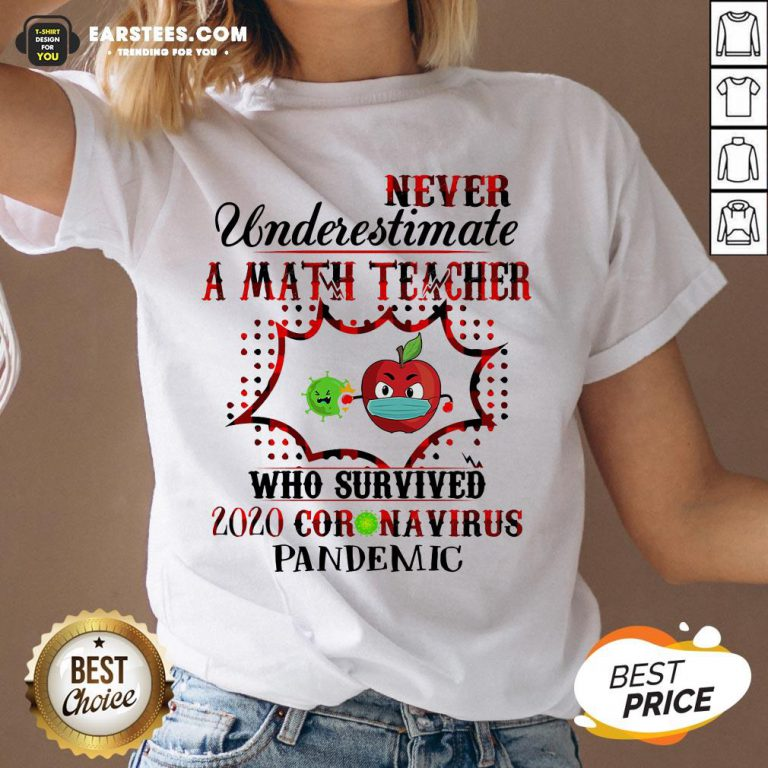 Official Never Underestimate A Math Teacher Who Survived 2020 Coronavirus Pandemic V-neck - Design By Earstees.com