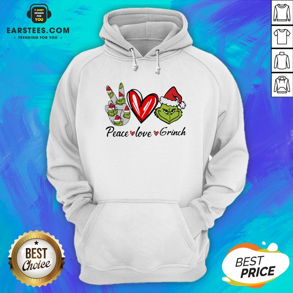 Official Peace Love Grinch Santa Christmas Hoodie- Design By Earstees.com