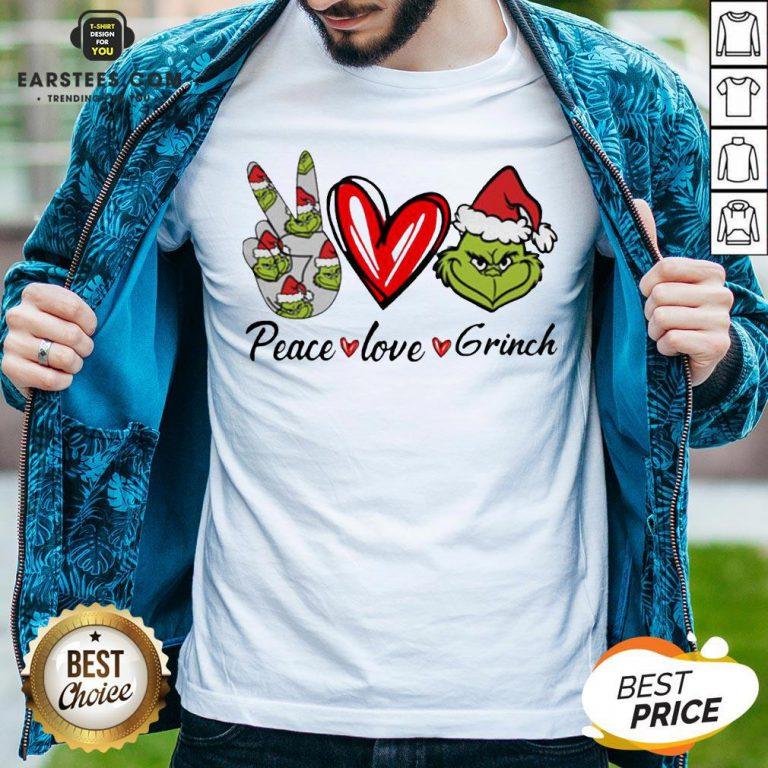 Official Peace Love Grinch Santa Christmas Shirt - Design By Earstees.com
