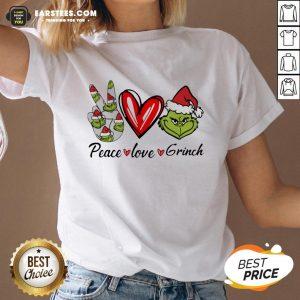 Official Peace Love Grinch Santa Christmas V-neck - Design By Earstees.com