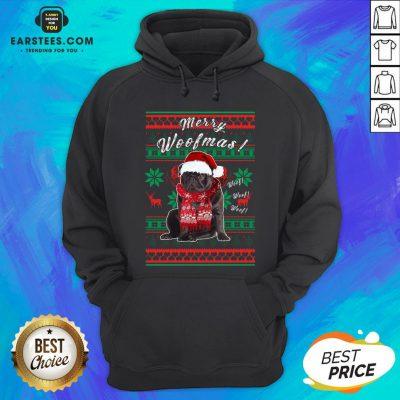 Official Pug Santa Merry Woofmas Ugly Christmas Hoodie - Design By Earstees.com