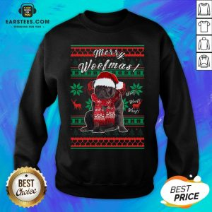 Official Pug Santa Merry Woofmas Ugly Christmas Sweatshirt - Design By Earstees.com