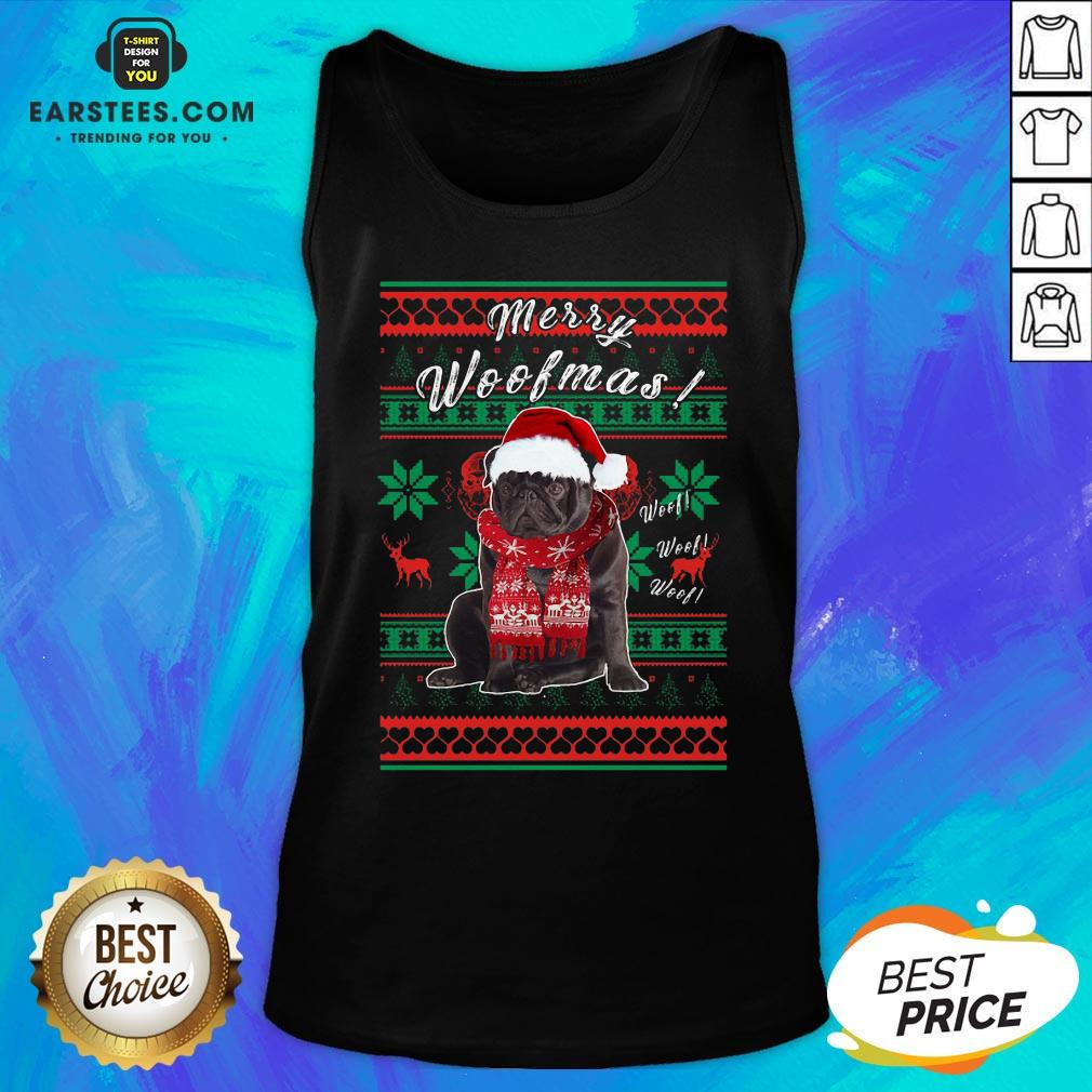 Official Pug Santa Merry Woofmas Ugly Christmas Tank Top - Design By Earstees.com