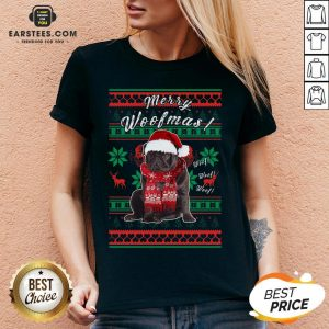 Official Pug Santa Merry Woofmas Ugly Christmas V-neck - Design By Earstees.com