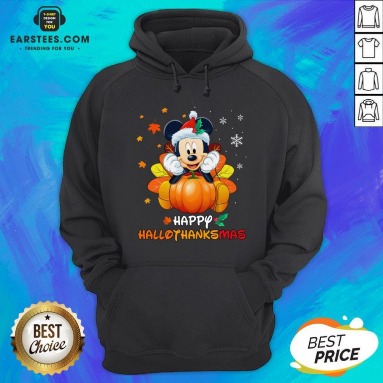 Original Mickey Mouse Santa Happy Hallothanksmas Hoodie - Design By Earstees.com