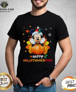 Original Mickey Mouse Santa Happy Hallothanksmas Shirt- Design By Earstees.com
