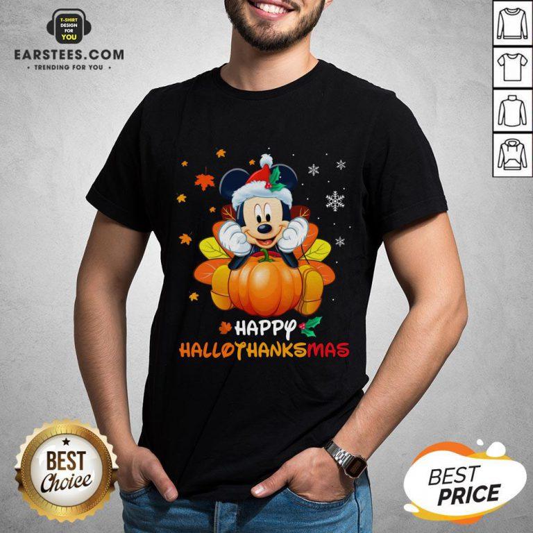 Original Mickey Mouse Santa Happy Hallothanksmas Shirt- Design By Earstees.com