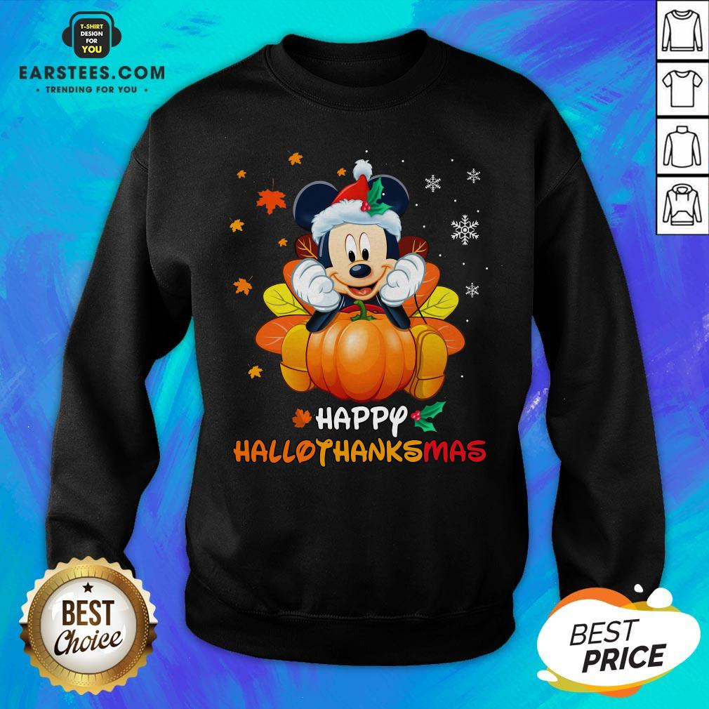 Original Mickey Mouse Santa Happy Hallothanksmas Sweatshirt - Design By Earstees.com