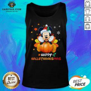 Original Mickey Mouse Santa Happy Hallothanksmas Tank Top - Design By Earstees.com