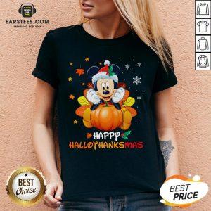 Original Mickey Mouse Santa Happy Hallothanksmas V-neck - Design By Earstees.com