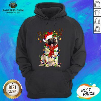 Original Santa Pug Reindeer Merry Christmas Hoodie - Design By Earstees.com