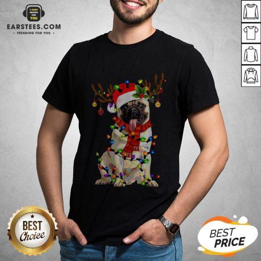 Original Santa Pug Reindeer Merry Christmas Shirt - Design By Earstees.com