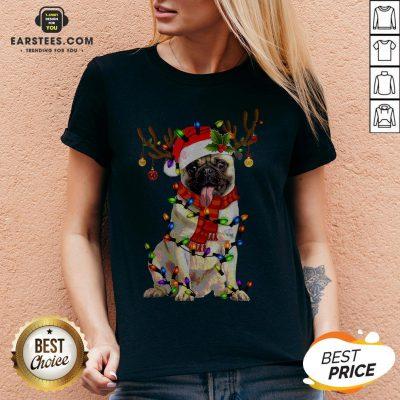 Original Santa Pug Reindeer Merry Christmas V-neck - Design By Earstees.com